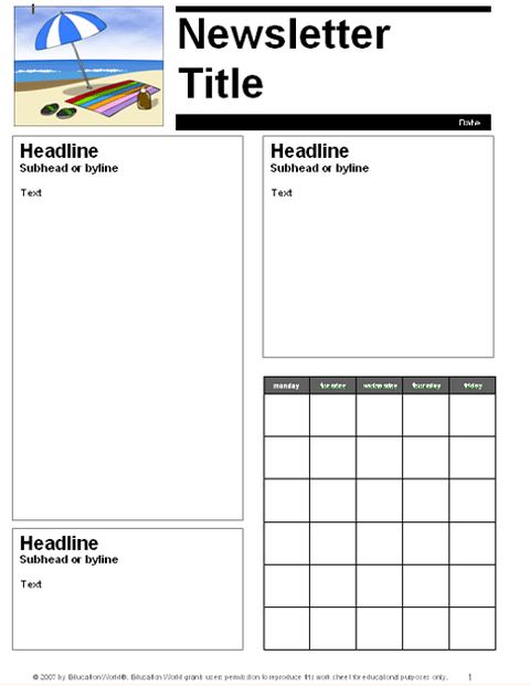 Free school newsletter templates for teachers for Free editable newsletter templates for teachers