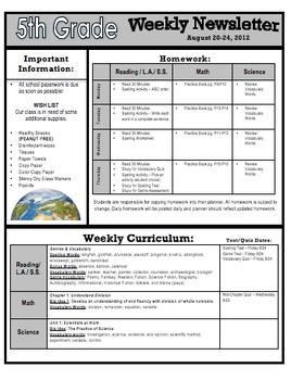 Middle school newsletter templates free for 5th grade newsletter template