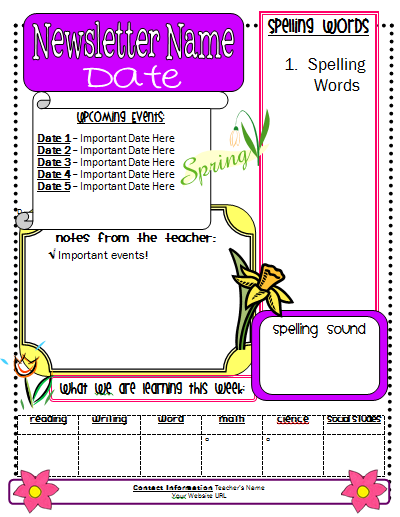 newsletter template for teachers - Save.btsa.co